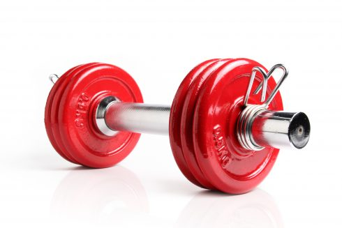 A red dumbbell isolated on a white background, with reflection