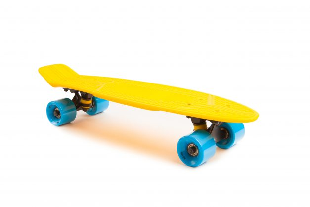 yellow penny skateboard, isolated on white